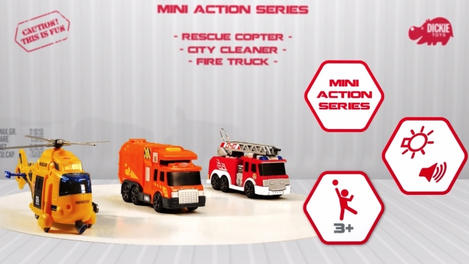 Mini Action Series / Rescue Copter / City Cleaner / Fire Truck