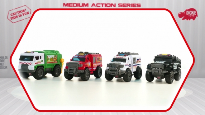 Police Unit, Ambulance, Fire Rescue, Garbage Truck - Action Series - Dickie Toys