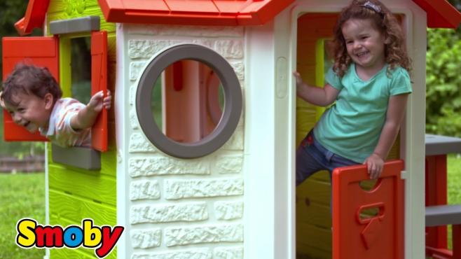 Smoby Friends Sommerküche : Geräumiges spielhaus für kinder mit picknicktisch und türklingel