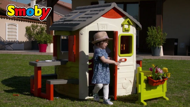 Neo Jura Lodge Spielhaus mit viel Zubehör wie Küche, Türklingel oder ...